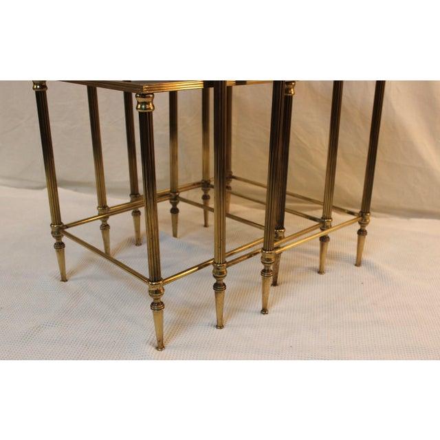 1950's Modern Italian Brass Nesting Tables - Pair For Sale - Image 9 of 10