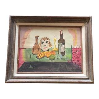 Original Vintage Modernist Watercolor Still Life Painting For Sale