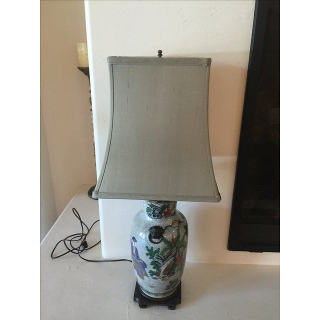 Vintage Asian Table Lamp with Wooden Base. Shade Included.