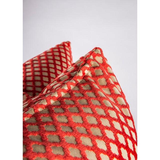"""2010s 22"""" X 22"""" Velvet Scalamandre Pomfret Down Pillows For Sale - Image 5 of 8"""