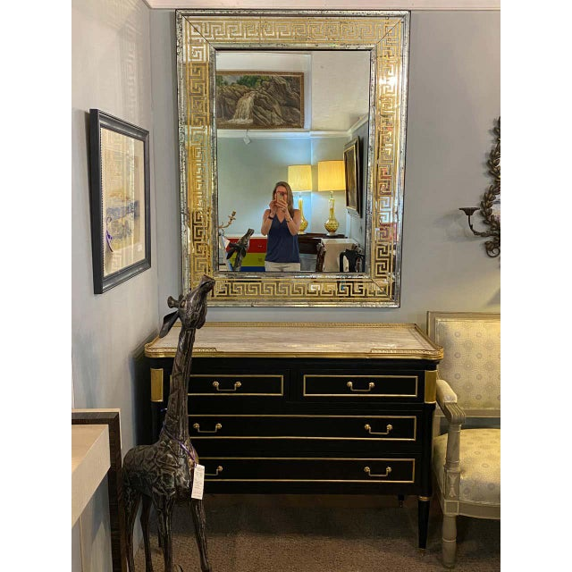 Hollywood Regency gilt gold Greek key design wall, console pier mirrors. A pair of simply stunning custom quality mirrors....