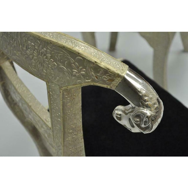 Vintage Mid Century Metal Wrapped Anglo Indian Regency Style Dowry Wedding Chairs For Sale - Image 9 of 10