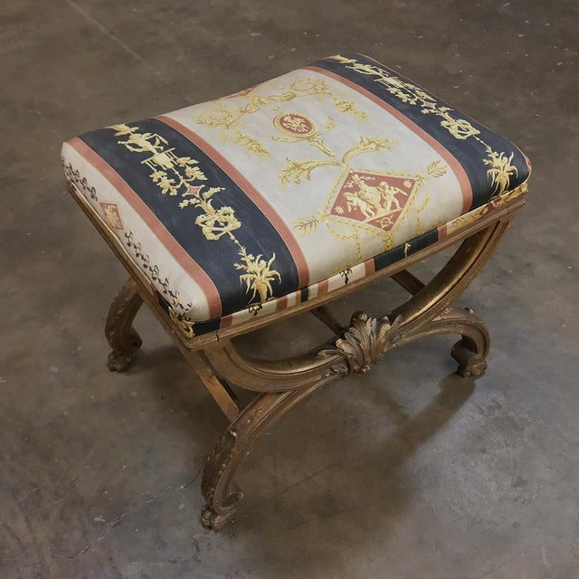 Giltwood 19th Century Giltwood Vanity Stool For Sale - Image 7 of 11