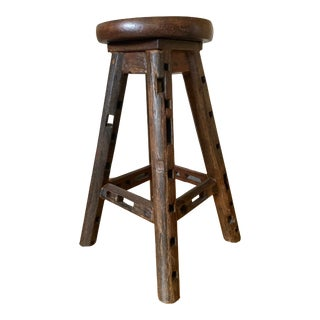 Vintage Reclaimed Wooden Stool For Sale