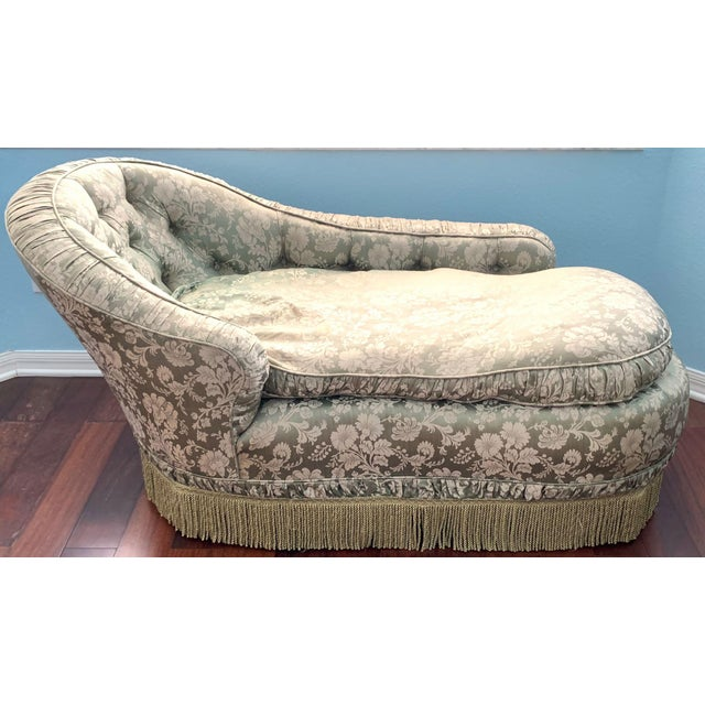 Victorian Antique Silk Upholstery Chaise For Sale - Image 3 of 12