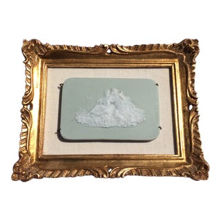 Romantic Bisque Plaque in Giltwood Frame For Sale