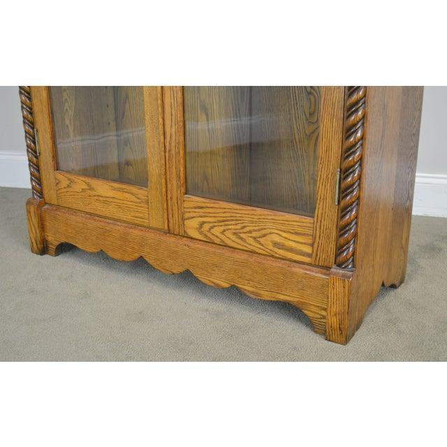 Antique Victorian Oak 2 Door Bookcase For Sale - Image 10 of 12