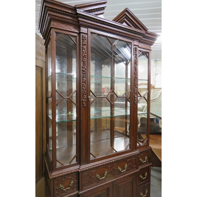English Traditional Georgian Style Carved China Cabinet For Sale - Image 3 of 6