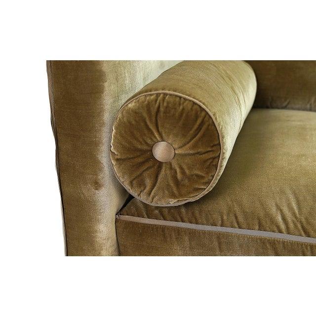 Contemporary Nancy Corzine Sage Velvet Silk Velvet Tuxedo Sofa For Sale - Image 3 of 5