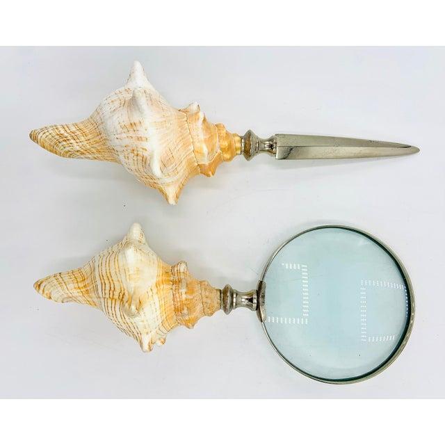 Conch Seashell Magnifying Glass & Letter Opener Desk Set For Sale - Image 9 of 12
