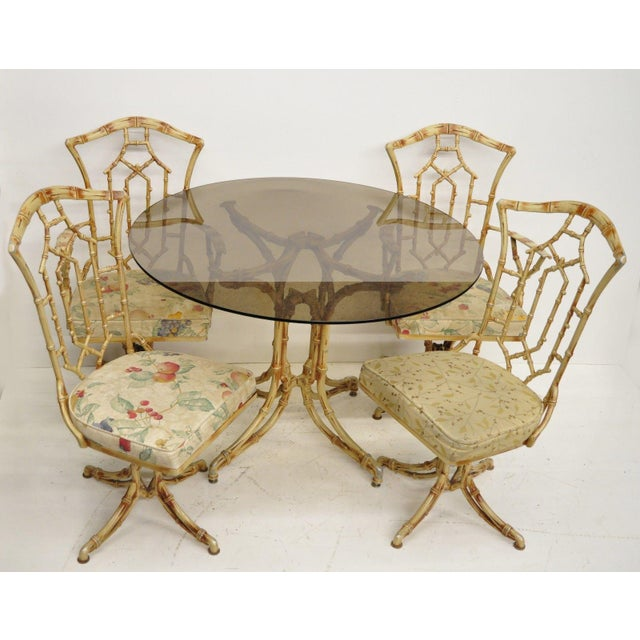 Chinese Chippendale Metal Faux Bamboo 5 Piece Dining Set For Sale - Image 12 of 13