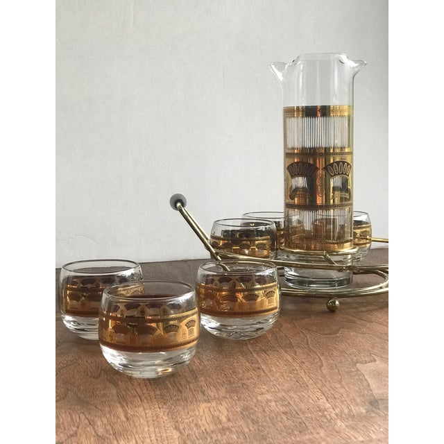 Metal 1960s Culver Roly Poly & Drink Pitcher Set With Carrier - Set of 7 For Sale - Image 7 of 10