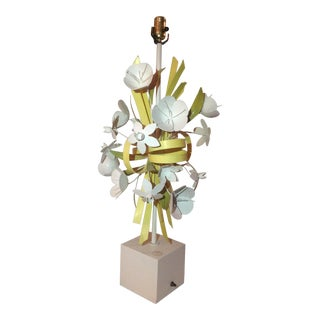 Mid-Century Metal Flower Table Lamp For Sale