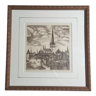 Wood Engraving of View of Fort & Churches, Framed For Sale