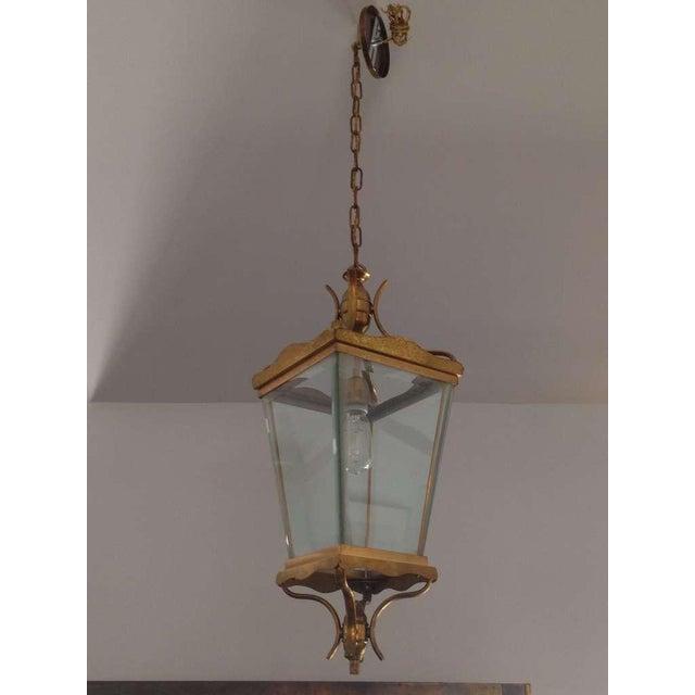 1960s Vintage Italian Brass Lantern Hanging Light For Sale - Image 5 of 5