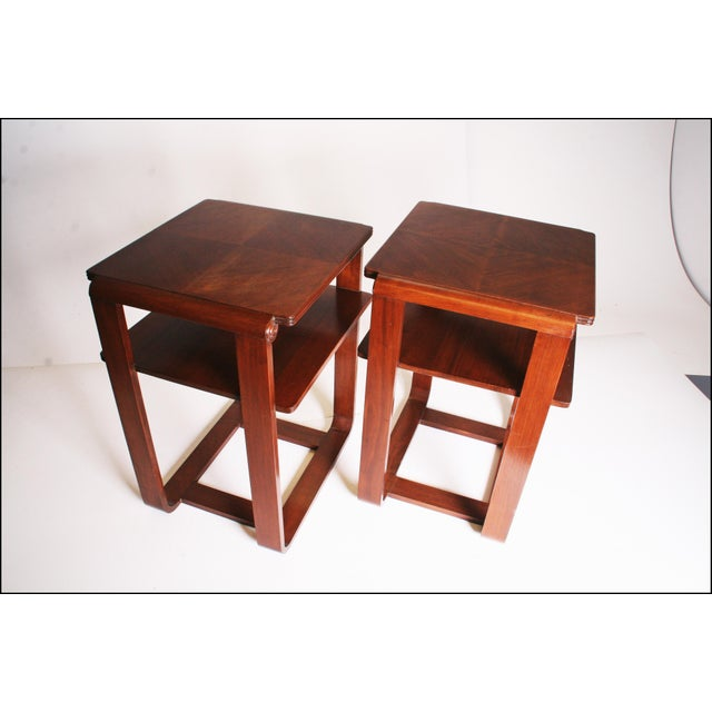 Vintage Art Deco Two Tier Wood Side Tables - A Pair - Image 7 of 11