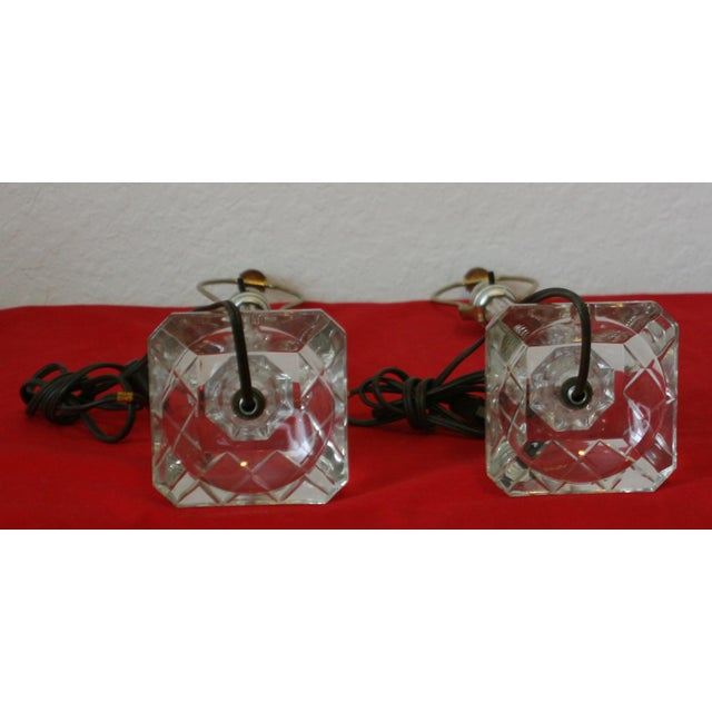 White Vintage Cut Glass Candlestick Boudoir Lamps - A Pair For Sale - Image 8 of 11