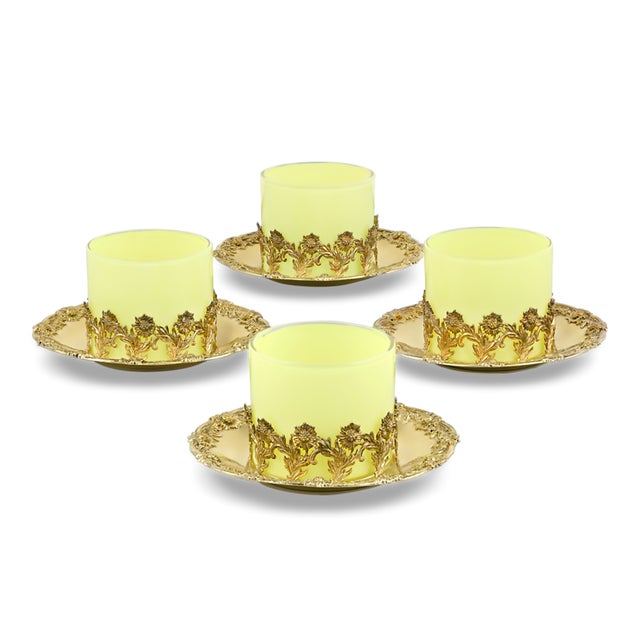 Mid 20th Century Royal Tiffany & Co. Chrysanthemum Silver-Gilt and Glass Ramekins For Sale - Image 5 of 5