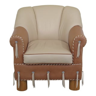 1990s Vintage Leather Upholstered Southwestern Style Club Chair For Sale