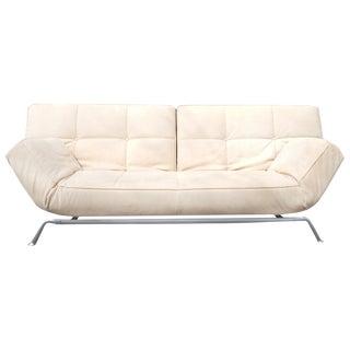 Mid-Century White Suede Sofa