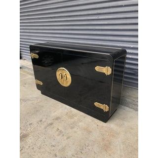 Vintage Mastercraft Black Lacquer and Brass Console Cabinet Preview