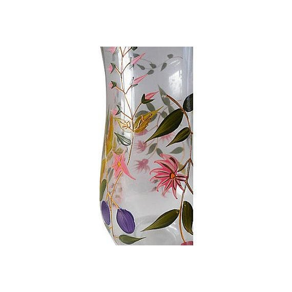 Vintage Hand Painted Floral Glass Pitcher - Image 5 of 5