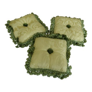 Set of 3 Damask Upholstered Decorative Throw Pillows For Sale
