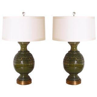 Large Bitossi Green Ceramic Lamps, C. 1950 - a Pair For Sale
