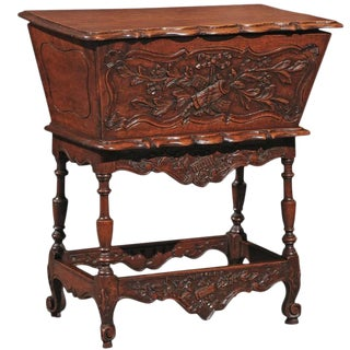 Louis XV Style Early 20th Century Dough Bin Petite Table with Floral Carving