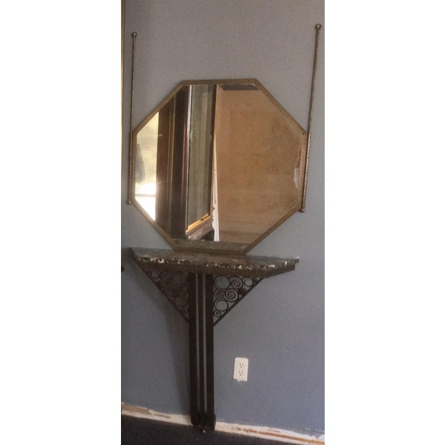 1910s Wrought Iron Console Table and Mirror Set For Sale - Image 5 of 11