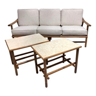 Mid Century Boho Bamboo Rattan Sofa & Side Tables—Set of 3 For Sale