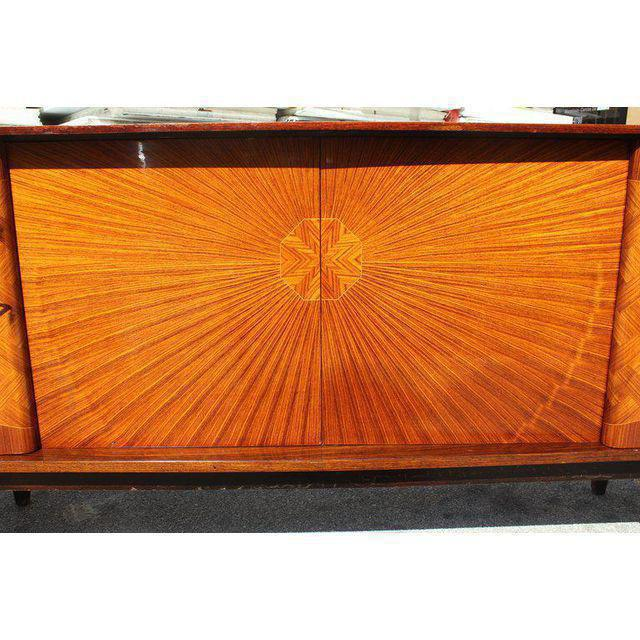 French Art Deco Exotic Rosewood Sunburst Sideboard / Buffet Circa 1940s - Image 6 of 10
