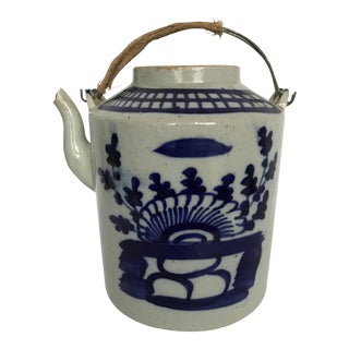 Chinese Blue & White Porcelain Tea Pot For Sale