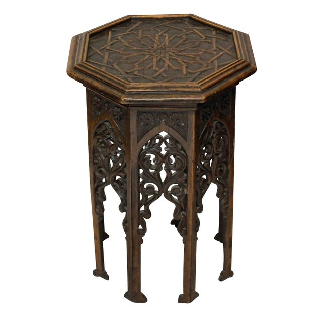 A finely carved 19th Century Moorish hardwood side table.