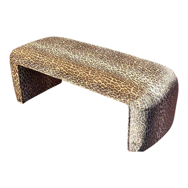 Contemporary Leopard Velvet Waterfall Bench For Sale