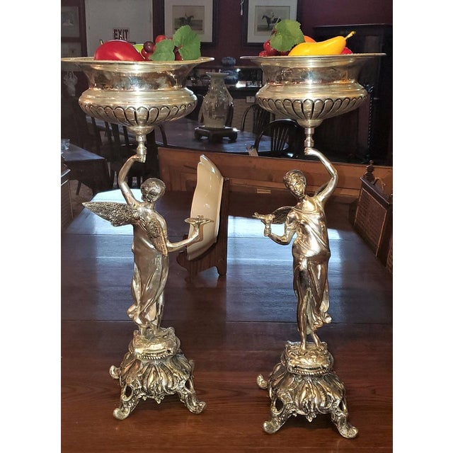Chromed Angel Centerpieces - a Pair For Sale - Image 9 of 13