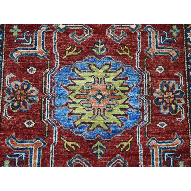 Islamic Red Kazak Pure Wool Geometric Design Hand-Knotted Runner Rug For Sale - Image 3 of 7