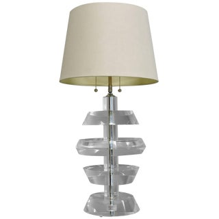 Karl Springer Style Mid-Century Modern Stacked Lucite and Chrome Table Lamp For Sale