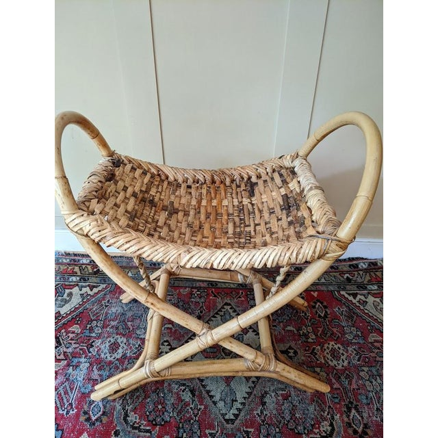 Vintage Bamboo Bench Footstool For Sale - Image 9 of 11