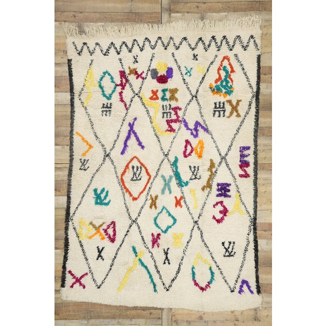 """Beige Contemporary Berber Moroccan Azilal Rug - 6'3"""" X 9'1"""" For Sale - Image 8 of 9"""