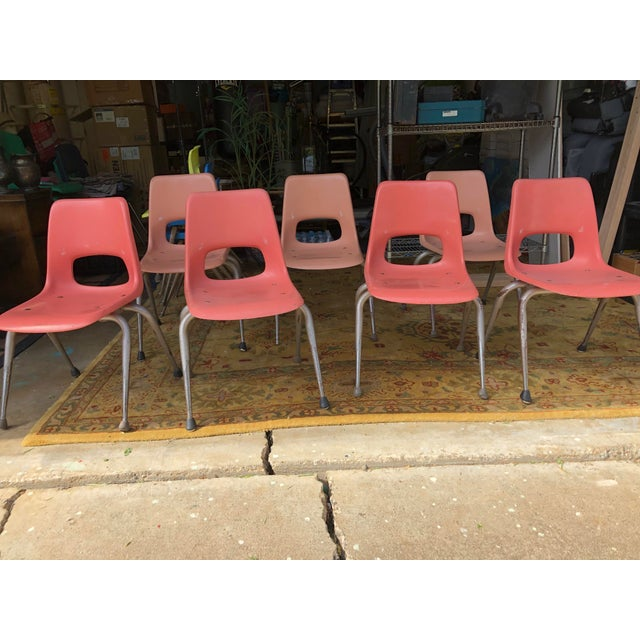 "7 vintage Mid Century molded fiberglass chairs, medium- small child sized 28"" tall, 15"" wide x 15"" depth 15"" Height from..."