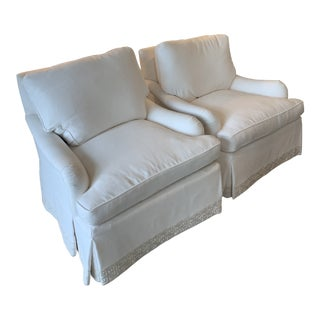 Edward Ferrell Mittman White Lounge Chairs - a Pair For Sale