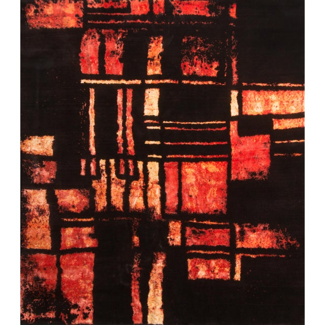 Silk Hand Knotted Mid-Century Fire Inspired Wool and Silk Rug For Sale - Image 7 of 7