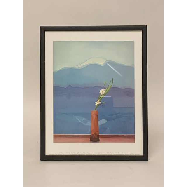 """Framed lithograph of renowned 20th century British artist David Hockney's (b. 1937) """"Mount Fuji and Flowers."""" The original..."""