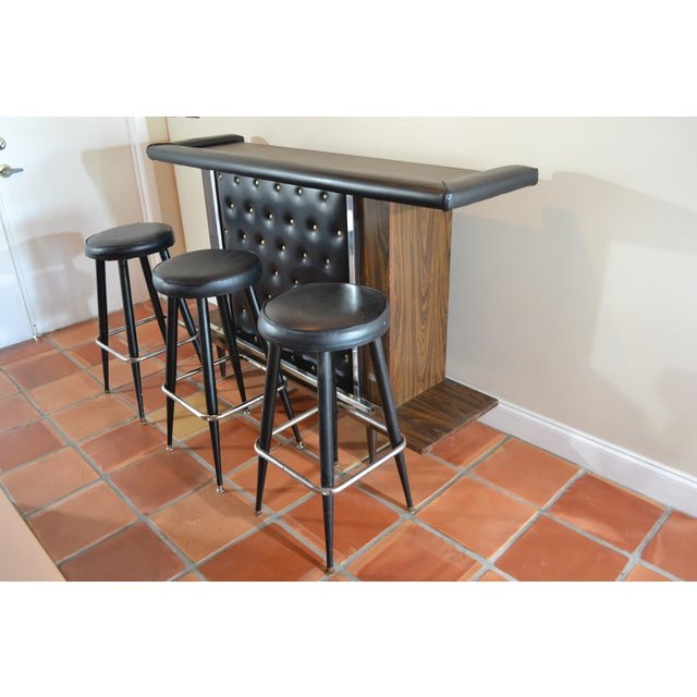 Mid-Century Modern Tufted Bar & Stools - Image 7 of 10