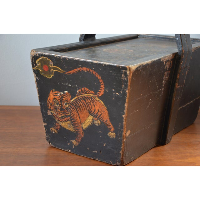 Late 19th Century Antique Hand Painted Chinese Wooden Rice Box With Tiger & Dragon For Sale - Image 5 of 13