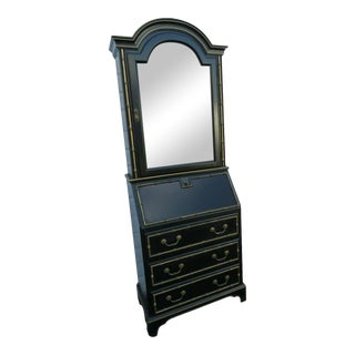 Hollywood Regency Painted Tall Secretary Desk Cabinet For Sale