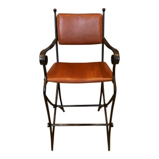 Cibola Iron and Leather Brutalist Bar Stool For Sale