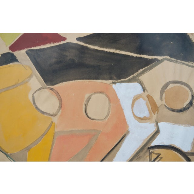 Mid 20th Century 1949 Cubist Watercolor Painting by Edouard Pignon, Colleague of Picasso in Paris For Sale - Image 5 of 8
