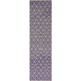 "Modern Bauhaus Anjanett Hand-Woven Kilim Wool Runner - 2'8"" X 8'2"" For Sale"